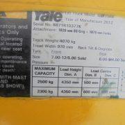 YALE GLP25RK, seria B871R10377K, an 2012 - placuta